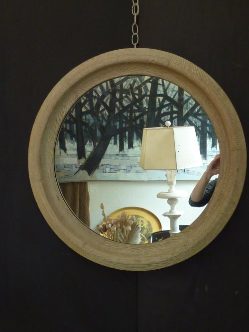 Antique Deep Profile Round Mirror