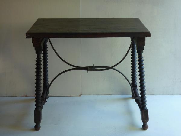 Antique Spanish Walnut Tavern Table Console