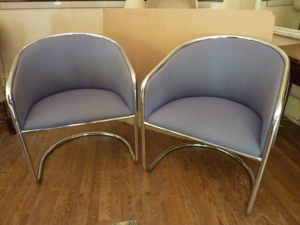 Pair of Modern Chrome Club Chairs