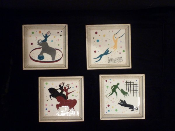 Mid Century Hand Painted Ceramic Tiles