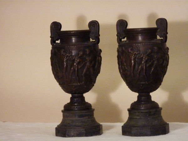 Pair of Bronze Urns