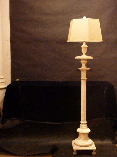 Wooden Torchiere Floor Lamp