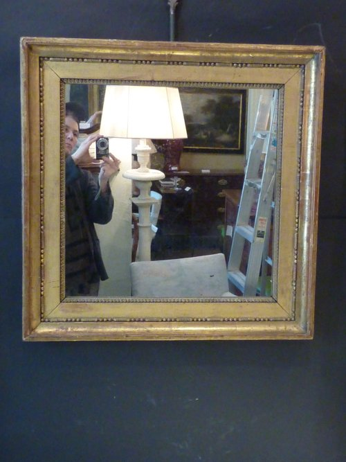 Antique French Square Giltwood Mirror