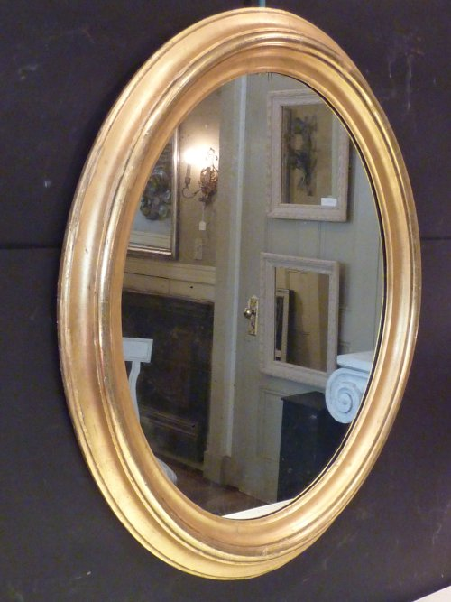 Large Antique Gold Leaf Oval Mirror