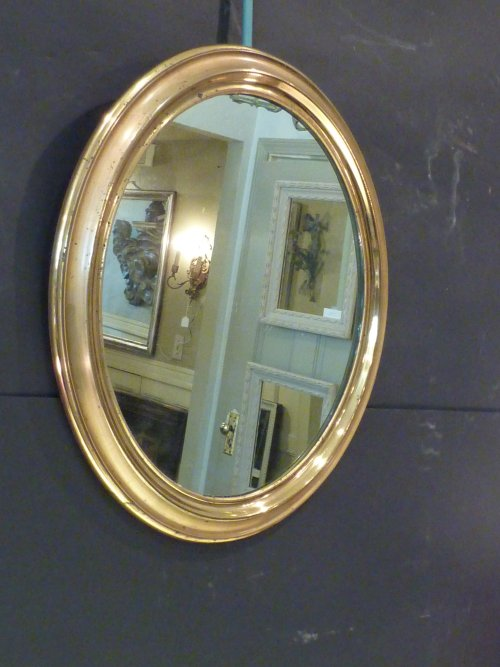Small Antique Oval Brass Mirror