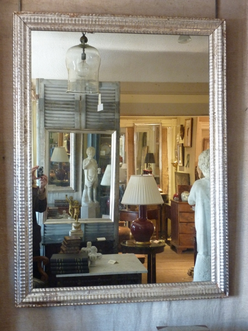 Large 19th C Silver Ripple Mirror