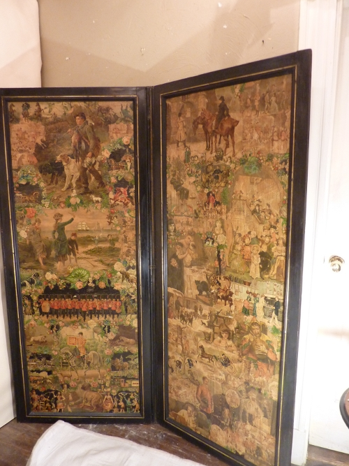 Victorian 3 Panel Decoupage Screen