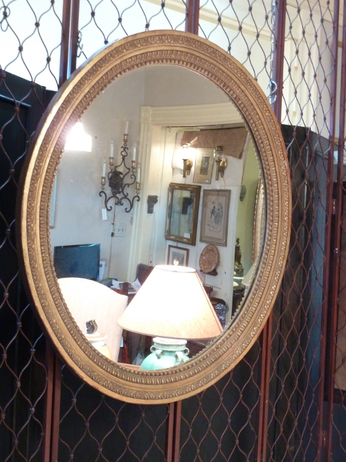 Generous Oval Giltwood Mirror