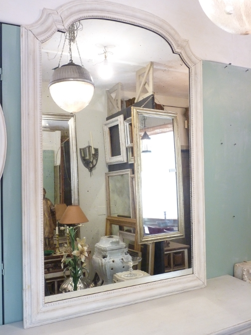 Whitewashed Curved Top Mirror