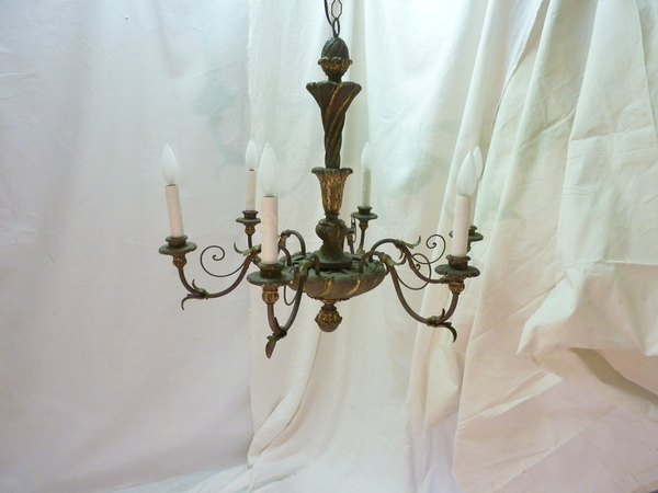Italian Painted Wood and Iron Chandelier