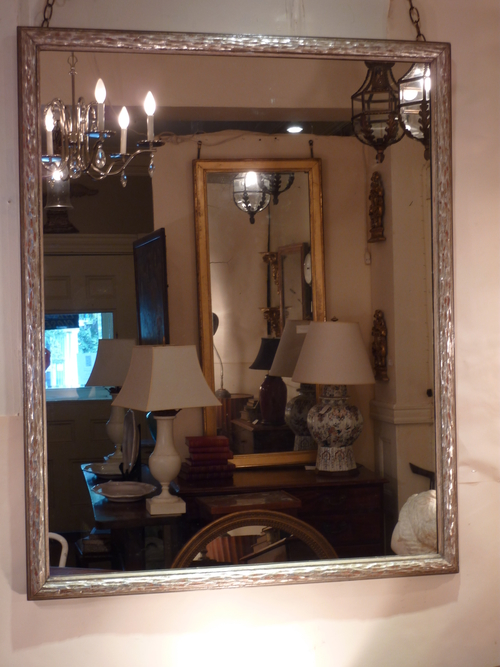Large Chip Carved Silver Leaf Mirror