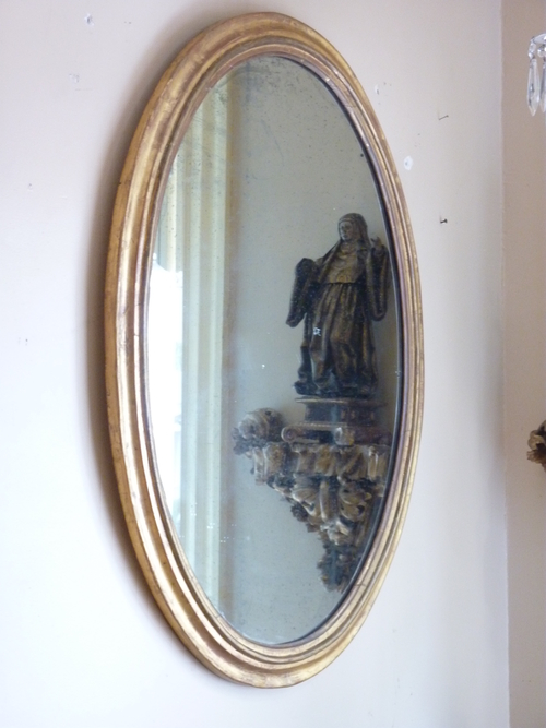 Large Oval Giltwood Mirror