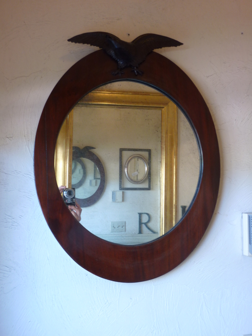 Walnut Oval Mirror with Eagle