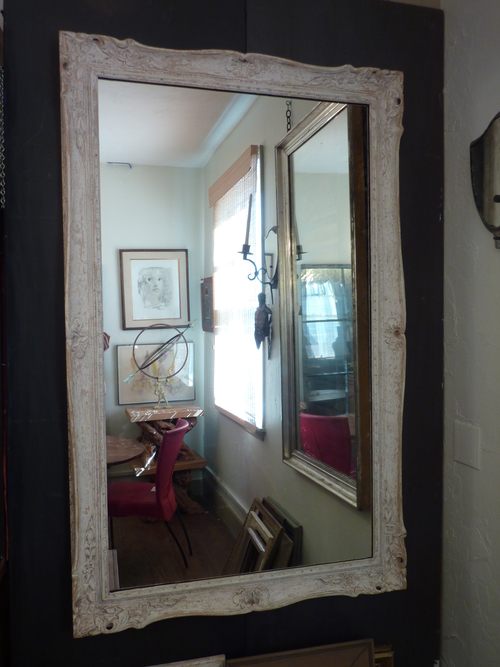 Carved Whitewashed Mirror