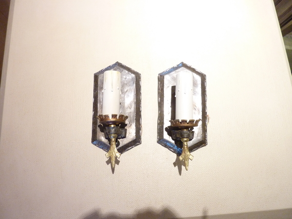 Pair Pewter Finish Sconces