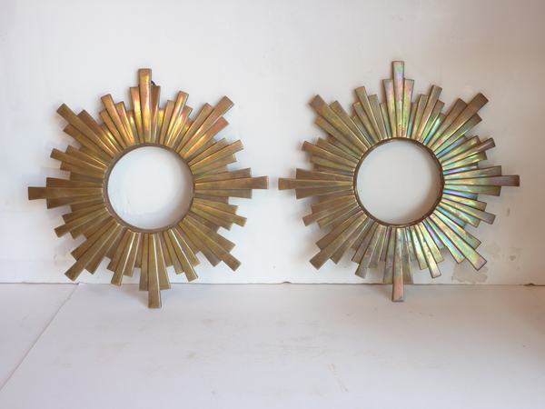 Pair Bronze Sunbursts