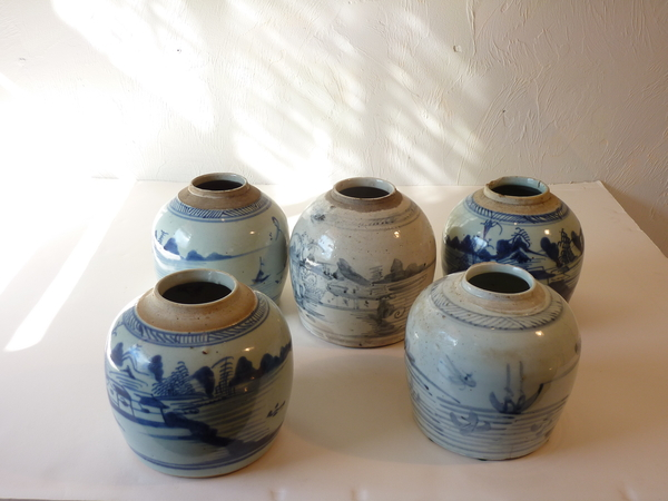 Collection Chinese Blue and White Jars