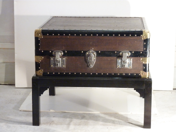 Grass Cloth Chest on Stand