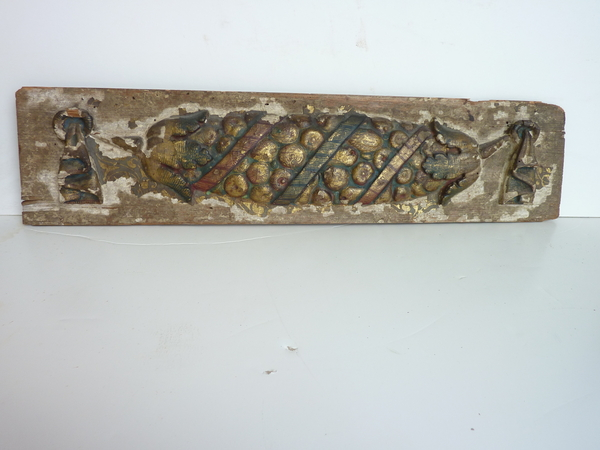 18th Century Carved and Painted Cornucopia Plaque