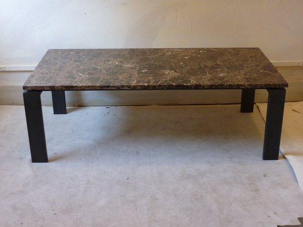Modern Iron and Marble Coffee Table