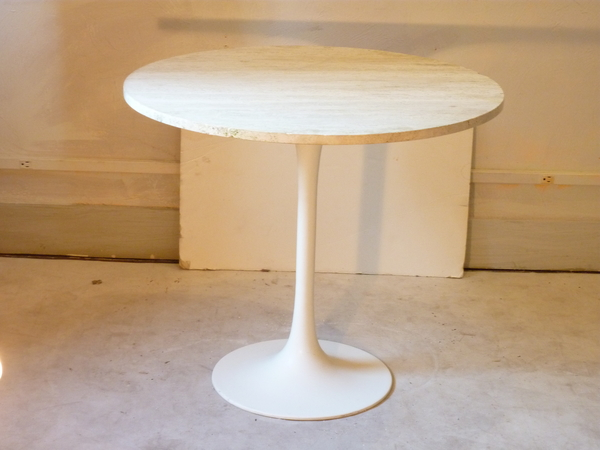 Modern Tulip Table with Travertine