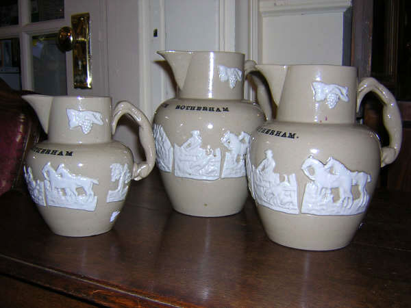 3 Staffordshire Glazed Stoneware Hunt Jugs
