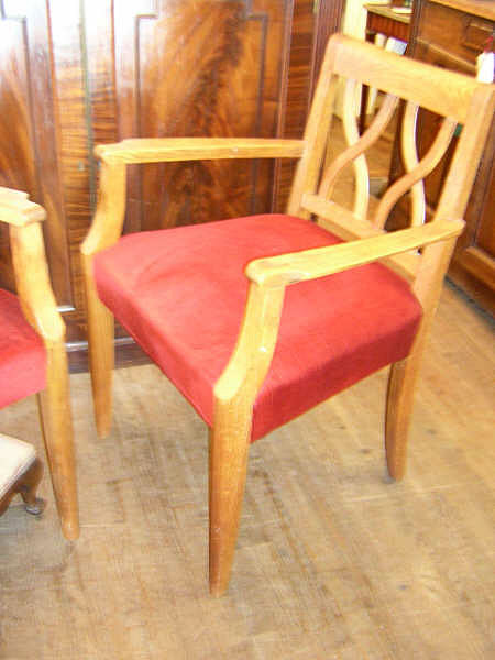 French Pair of Art Deco Oak Armchairs