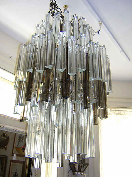 Venini Glass and Chrome Chandelier :  lighting chandelier antique
