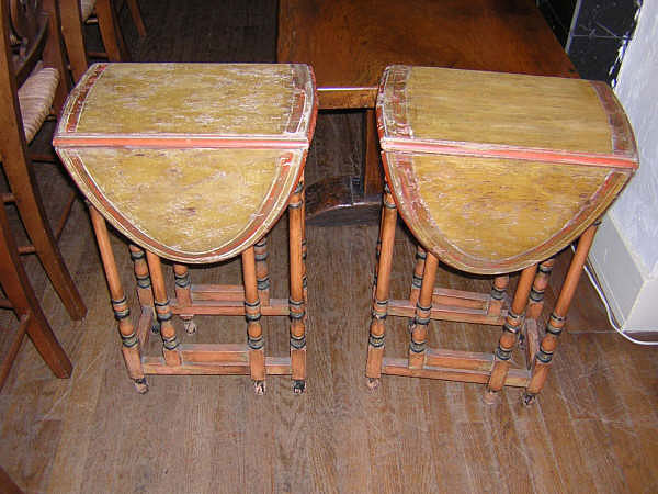 English Painted Gate Leg Side Tables :  english table tables antique