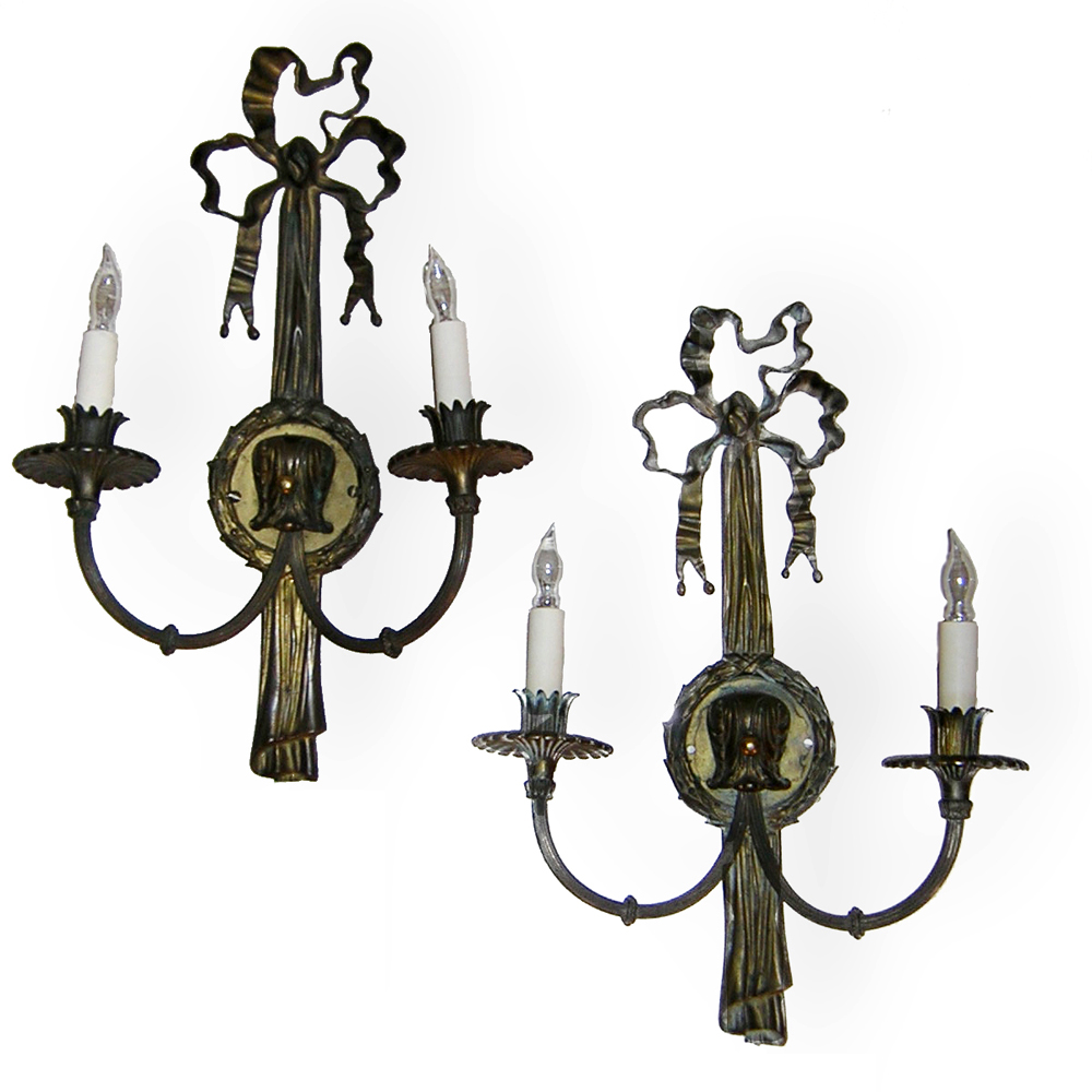 20th Century French Bronze Sconces :  lighting antique sconces