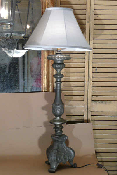 Pewter Candlestick Lamp