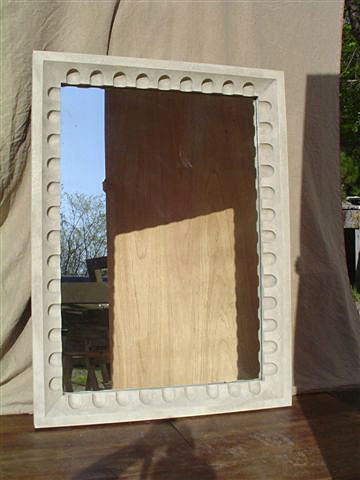 Faux Stone Fluted Mirror